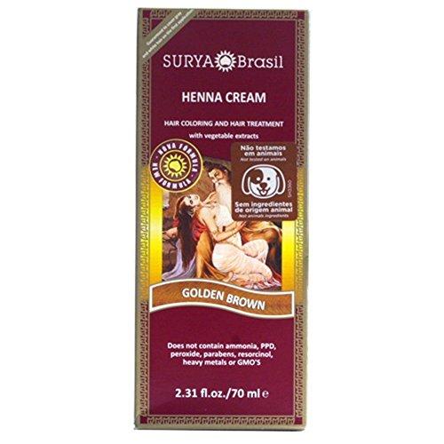 Surya Brasil Henna Hair Cream - Golden Brown 70ml (Pack of 4) by Surya Brasil