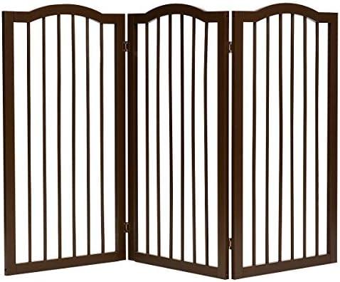 Goplus Barrera modulable Plegable con 3 Paneles, Puerta para Animales domésticos, Barrera de Seguridad, Puerta Interior, Puerta de Escalera de Madera de Pino, 153 x 92 x 2 cm, café: Amazon.es: Productos para mascotas