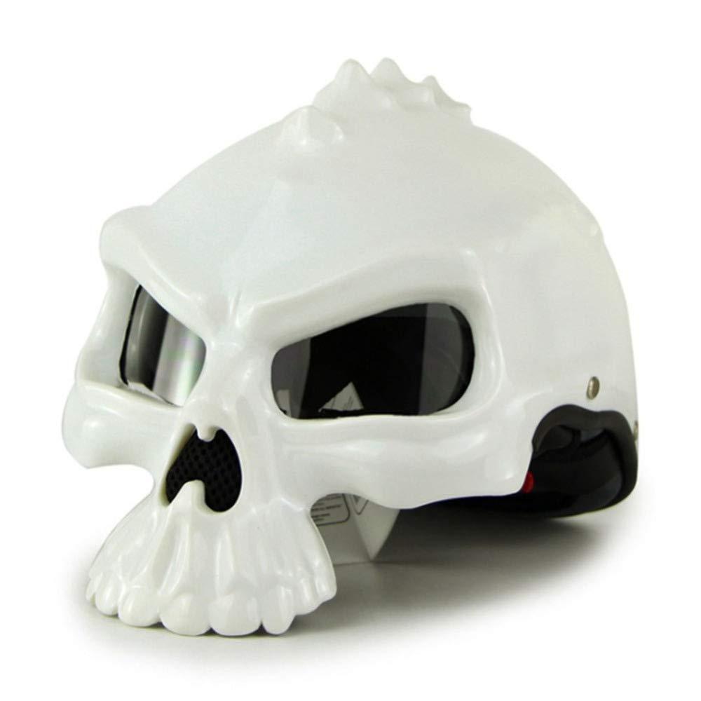 YSHCasco Skull Chopper Casco Casco De La Motocicleta Cascos Antiguos De La Bici del Motor De La Vendimia Capacete Moto Casque,White-L(57-58cm): Amazon.es: ...