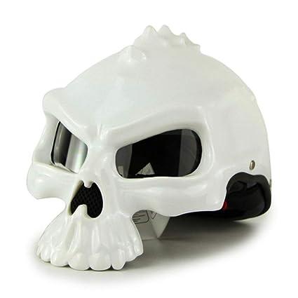 YSHCasco Skull Chopper Casco Casco De La Motocicleta Cascos Antiguos De La Bici del Motor De