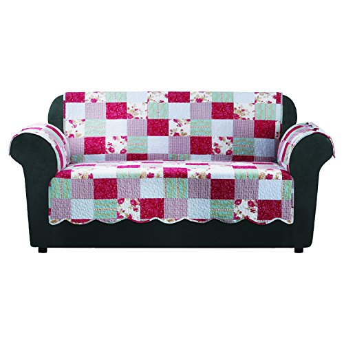 SureFit  Heirloom Quilted Loveseat Pet Throw/Slipcover with Arms, Cottage Patchwork ()