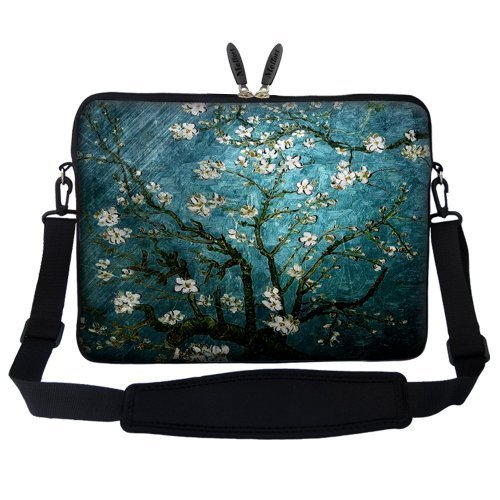 Meffort Inc 17 17.3 inch Neoprene Laptop Sleeve Bag Carrying Case with Hidden Handle and Adjustable Shoulder Strap - Vincent van Gogh Almond Blossoming Strap Almond
