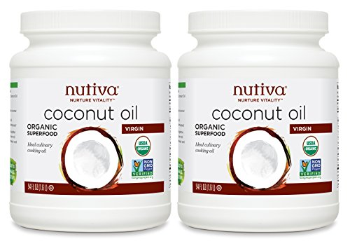 Nutiva Organic, Cold-Pressed, Unrefined, Virgin Coconut Oil from Fresh, non-GMO, Sustainably Farmed Coconuts, 54-ounce (Pack of 2) ()