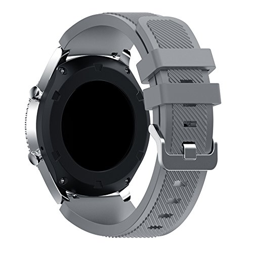 Compatible for Samsung Galaxy Watch Band 46mm, Gear S3 Band Silicone Strap Sport Wristband Replacement Band for Samsung Gear S3 Frontier/Gear S3 Classic Watch Band Bracelet Accessory (Gray) by Flyeagle168 (Image #1)