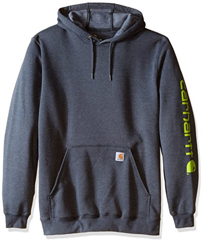 Carhartt Men's Big-Tall Midweight Signature Sleeve Logo Sweatshirt Hooded, Charcoal Heather, 4X-Large Carhartt Midweight Logo Hooded Pullover