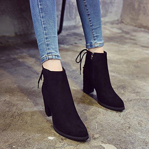 Martin Botas De Plate Invierno Terciopelo Heel High Rough Corbata Coreano Heel Shoes Primavera Cremallera KHSKX Botas Tubo Woman Con black Corto E fw8Sq66z