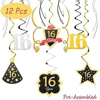 Amazon.com: 16 cumpleaños decoración feliz 16º cumpleaños ...