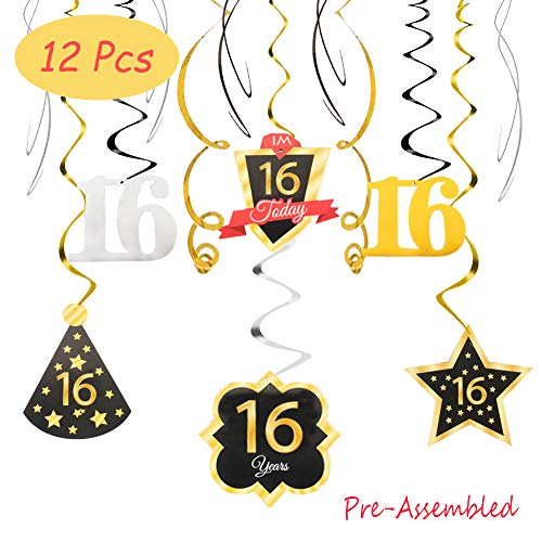 16 Birthday Decoration Happy 16th Birthday Party Silver Black Gold Foil Swirl Streamers I'm Sixteen Years Old Today Birthday Hat Gold Star Ornament Party Present Supplies