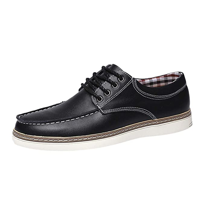 : RAINED Men's Casual Moc Toe Stitching Leather