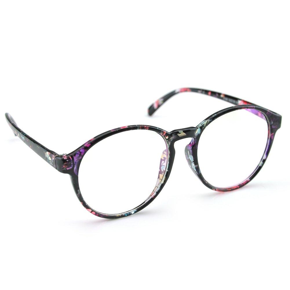 08024a19bd7 Galleon - PenSee Womens Oversized Frame Inspired Horned Rim Clear Lens  Circle Eyeglasses (Purple Flower)