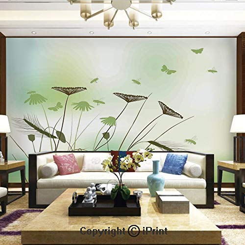 Seattle Flying Dragons (Wallpaper Nature Poster Art Photo Decor Wall Mural for Living Room,Silhouette of Dragonflies Bees Butterflies Flying All Over The Flowers Spring Theme,Home Decor - 100x144)