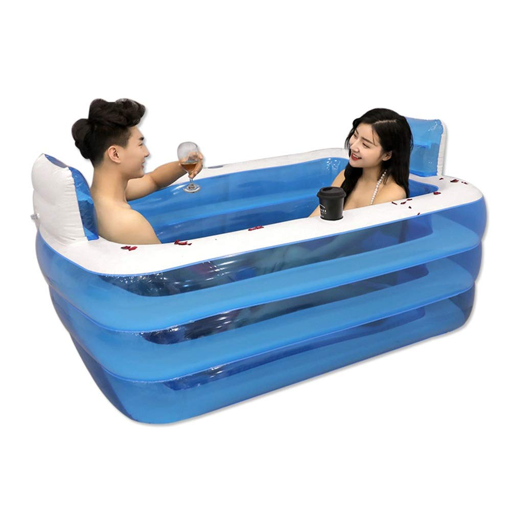 膨脹可能な浴槽、携帯用屋外の子供の漕ぐプール160 * 120 * 55cmを折る大人の厚くなる絶縁材の浴槽 (色 : A)  A B07RSKRLG8