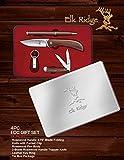 Elk Ridge ER-PR-202 4 Pocket Clips EDC Rosewood Gift Set in Tin Box