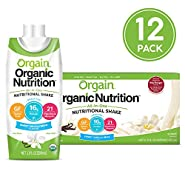 Orgain Organic Nutritional Shake, Vanilla Bean - Meal Replacement, 16g Protein, 21 Vitamins & Minerals, Gluten Free, Soy Free, Kosher, Non-GMO, 11 Ounce, 12 Count (Packaging May Vary)