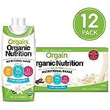 Orgain Organic Nutrition Shake, Sweet Vanilla Bean, Gluten Free, Kosher, Non-GMO, 11 Ounce, 12 Count, Packaging May Vary