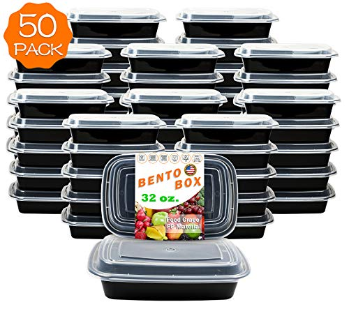 50-Pack [32 oz] 1-Compartment Food Container - Rectangular Meal Prep Bento with Lid - Portable Lunch Box - Stackable - BPA Free - Freezer/Microwave/Dishwasher Safe - Reusable Storage - USA Made]()