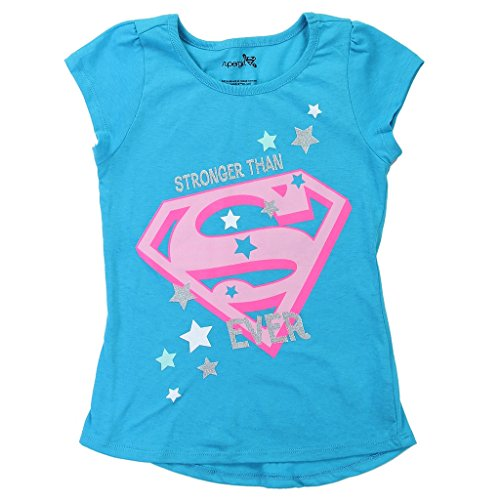 Glitter Logo Tee (DC Comics Little Girls' Supergirl Logo Glitter Tee (5))