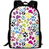 Backpack Adult Colored Paws Pattern Unique Shoulders Bag Daypacks