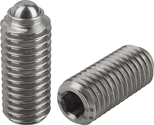Kipp 03035-04 Stainless Steel Spring Plungers, Ball Style, Hexagon Socket, Standard End Pressure, Metric, M4 Thread (Pack of 10)