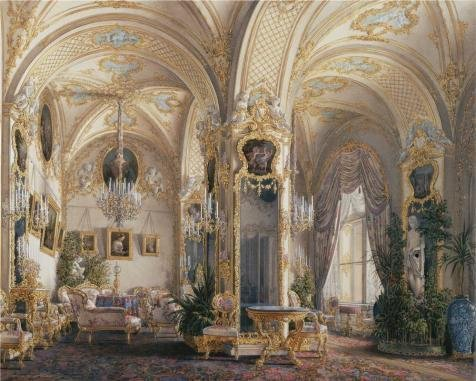 High Quality Polyster Canvas ,the High Quality Art Decorative Prints On Canvas Of Oil Painting 'Hau Edward Petrovich,Interiors Of The Winter Palace,The Drawing Room In Rococo II Style,with Cupids,1807-1887', 30x37 Inch / 76x95 Cm Is Best For Study Artwork And Home Gallery Art And Gifts