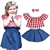Valentine's Day Toddler Baby Girl Clothes Red Plaid Off Shoulder T-Shirt Top+Denim Skirt with Headband 3PCS Outfit Set(2-3T)