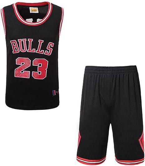 Hombres Jerseys del Baloncesto Set - Michael Jordan # 23 Uniforme Chicago Bulls de Baloncesto Camisa Bordada Chaleco del Verano Pone en Cortocircuito, Rojo, Blanco, Negro,Negro,L: Amazon.es: Hogar
