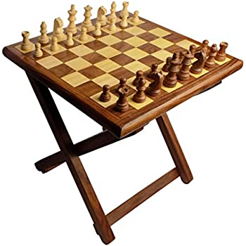 Exceptionnel Craftsu0027man Folding Wooden Table Chess Made Of Sheesham Wood