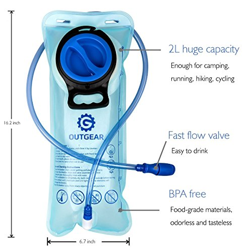 OUTGEAR Hydration Bladder 2L 70OZ Water Reservoir, BPA Free, Leak-Proof, Easy Clean for Bicycling Hiking Camping Hunting Running with Backpack by OUTGEAR (Image #1)