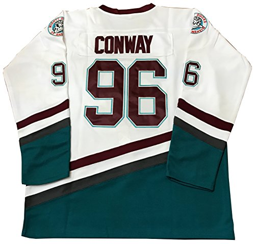 Kooy Charlie Conway #96 Mighty Ducks Movie Hockey White Red Jersey (L)