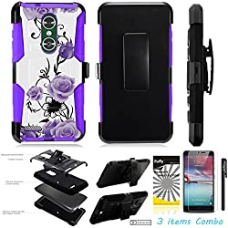 For ZTE BLADE X MAX Z983 /3Items [Clear LCD Film]+Stylus Pen+[Impact Resistance] Dual Layer [Belt Clip] Holster Combo [KickStand] Phone Case Purple Rose - Purple