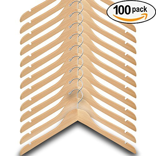 Wood Hangers (Pack of 100) – Wishbone Wooden Retail Hanger with Chrome Hook, No Bar, 17