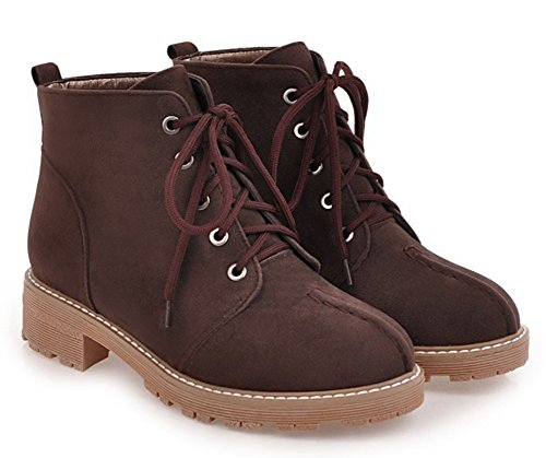 Aisun Womens Comfortable Round Toe Dressy Lace Up Booties Chunky Low Heel Ankle Boots Coffee wGwX5