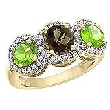 10K Yellow Gold Natural Smoky Topaz & Peridot Sides Round 3-stone Ring Diamond Accents, sizes 5 - 10