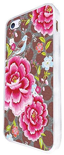 961 - Cool Cute Fun Shabby Chic Pink Flowers Roses Nature Blue Bird Design iphone SE - 2016 Coque Fashion Trend Case Coque Protection Cover plastique et métal - Blanc