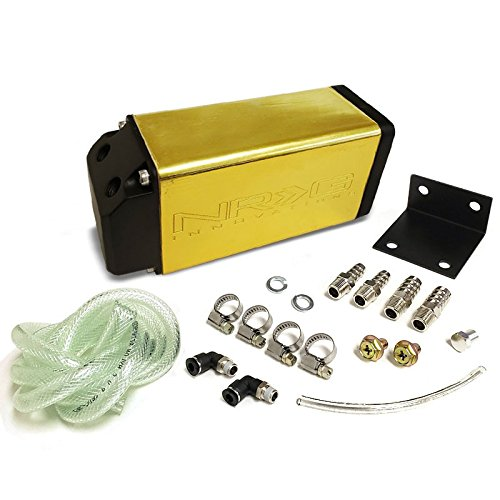 Gold NRG Universal 750ML Aluminum Engine Valve Oil Catch Tank/Can Reservoir+Hose Kit (Chevrolet C10 Pickup Fuel Tank)