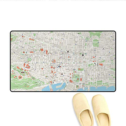 "Doormat,Map of Barcelona City Streets Parks Subdistricts Points of Interests,Bath Mat for Tub,Beige Lime Green Pale Blue,Size:24""x36"""