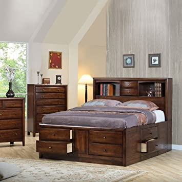 hillary and scottsdale contemporary california king bookcase bed with underbed storage drawers - California King Bed Frame With Storage