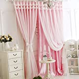 Queen's House Korean Beautiful Girls Bedroom Curtains with Lace Sheers-52''W×84''H
