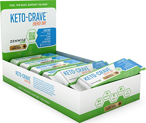 Zenwise Health, Keto Crave Energy Bar - Chocolate Chip Cookie Dough - 12 Pack