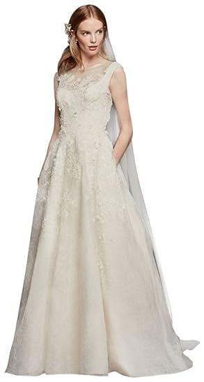 36d183e9f1aa Oleg Cassini Cap Sleeve Wedding Dress Style CWG730, Ivory, 14 at Amazon  Women's Clothing store: