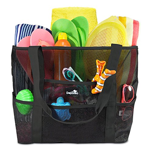 Beach Picnic Tote Bag - Dejaroo Mesh Beach Bag – Toy Tote Bag – Large Lightweight Market, Grocery & Picnic Tote with Oversized Pockets (Black with Black handles)
