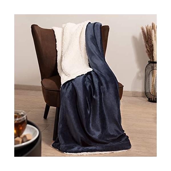 51bgigegroL Blumtal Flauschige Sherpa Kuscheldecke – hochwertige Wohndecke, super weiche Fleecedecke als Sofaüberwurf, Tagesdecke…