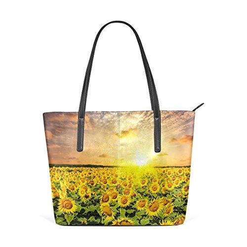 Handtasche Frauen Susnet Tasche Handtaschen Sonnenblumenfeld COOSUN PU und Schultertasche auf für Leder qPwYEf