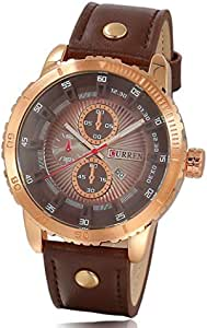 CURREN Watch for Men, Leather Band, M8206 - Brown and Gold