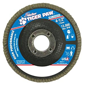 "Weiler 51108 Tiger Paw High Performance Abrasive Flap Disc, Type 27 Flat Style, Phenolic Backing, Zirconia Alumina, 4-1/2"" Diameter, 7/8"" Arbor, 40 Grit, 13000 RPM (Pack of 10)"