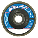 Weiler 51108 Tiger Paw High Performance Abrasive Flap Disc, Type 27 Flat Style, Phenolic Backing, Zirconia Alumina, 4-1/2'' Diameter, 7/8'' Arbor, 40 Grit, 13000 RPM (Pack of 10)