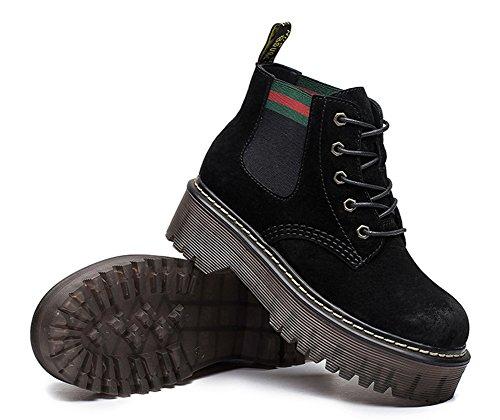 Moda Botines De Tacón Grueso Botines De Tacón Grueso Con Cordones Y Botines Negros