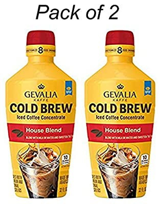 Gevalia Cold Brew House Blend Iced Coffee Concentrate 32 Oz, Pack of 2.