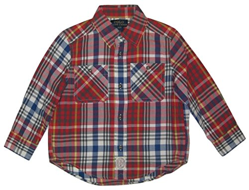 Polo Ralph Lauren Toddler Boys' Twill Plaid Sport Shirt, Red, - Online Polo Ralph