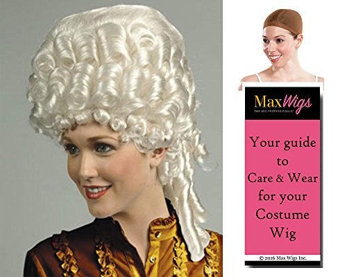 Empress French Marie Color Blonde - Enigma Wigs Women's 18th Century Royalty Antoinette Queen Bundle with Wig Cap, MaxWigs Costume Wig Care Guide